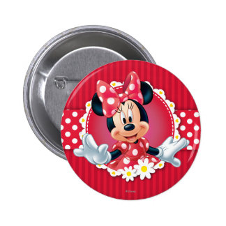 Red & White Minnie | Flower Frame Pinback Button