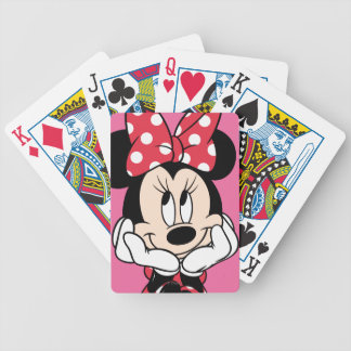 Red & White Minnie   Head in Hands Bicycle Playing Cards