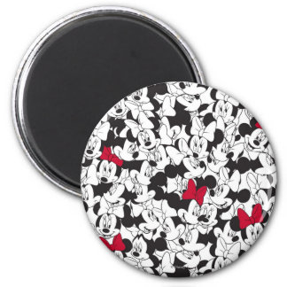Red & White Minnie | Red Bow Pattern 2 Inch Round Magnet