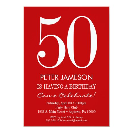 Red & White Modern Adult Birthday Invitations