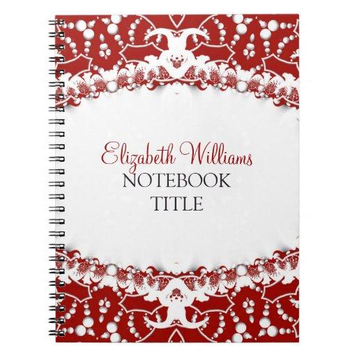 Red   White Modern Batik Notebook
