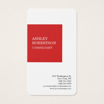 Lawyer Themed Red White Modern Professional Trendy Minimalist Business Card