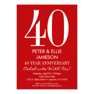 Red & White Modern Simple Anniversary Invitations