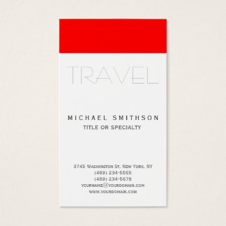 Red White Modern Simple Travel Agent Business Card