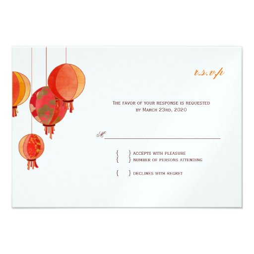 Red White Modern Wedding RSVP (Metallic Ice 3.5x5) Invitations