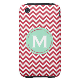 Red White Monogram Chevron Pattern Tough iPhone 3 Covers