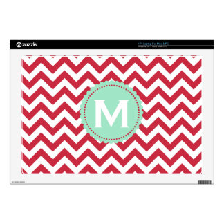 Red White Monogram Chevron Pattern Decal For Laptop