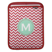 Red White Monogram Chevron Pattern Sleeve For iPads