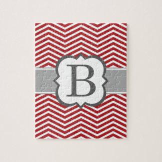 Red White Monogram Letter B Chevron Jigsaw Puzzle