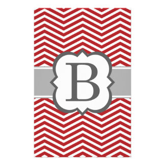Red White Monogram Letter B Chevron Stationery