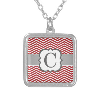 Red White Monogram Letter C Chevron Silver Plated Necklace