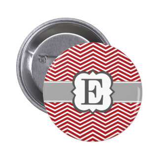 Red White Monogram Letter E Chevron Button