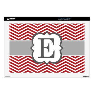"""Red White Monogram Letter E Chevron Decals For 17"""" Laptops"""