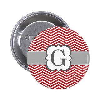 Red White Monogram Letter G Chevron Button