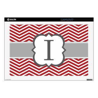 Red White Monogram Letter I Chevron Laptop Skins