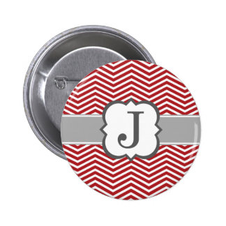 Red White Monogram Letter J Chevron Button