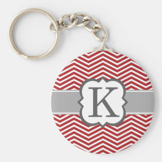 Red White Monogram Letter K Chevron Keychain