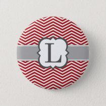 Red White Monogram Letter L Chevron Pinback Button
