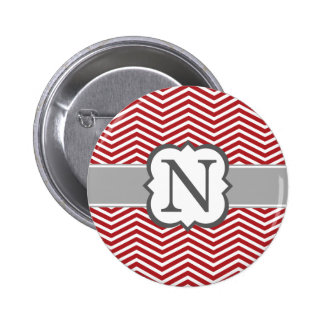 Red White Monogram Letter N Chevron Button