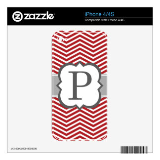 Red White Monogram Letter P Chevron Decals For The iPhone 4S