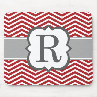 Red White Monogram Letter R Chevron Mouse Pad
