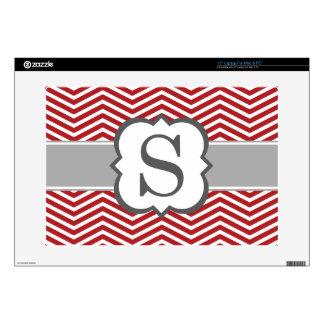 """Red White Monogram Letter S Chevron 15"""" Laptop Skins"""