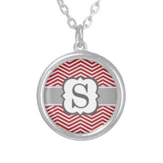Red White Monogram Letter S Chevron Silver Plated Necklace