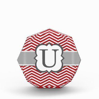 Red White Monogram Letter U Chevron Acrylic Award