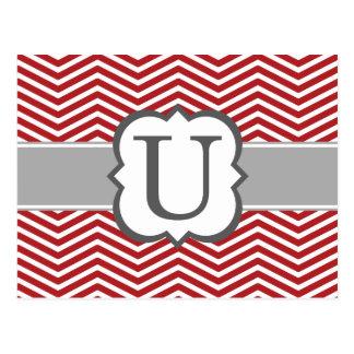 Red White Monogram Letter U Chevron Postcard