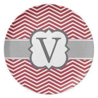 Red White Monogram Letter V Chevron Dinner Plate
