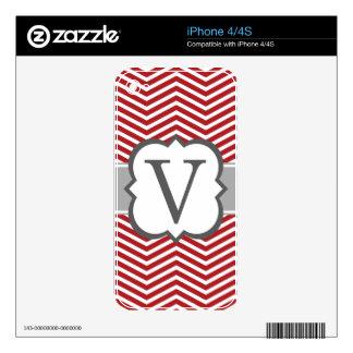 Red White Monogram Letter V Chevron iPhone 4 Skin