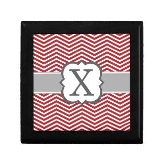 Red White Monogram Letter X Chevron Keepsake Boxes