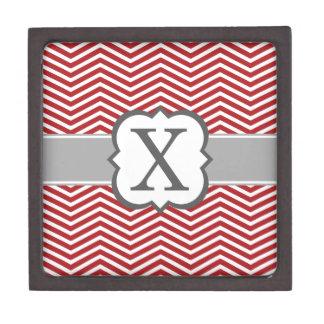 Red White Monogram Letter X Chevron Premium Jewelry Box