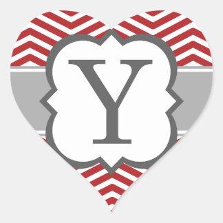Red White Monogram Letter Y Chevron Heart Sticker