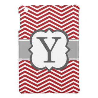 Red White Monogram Letter Y Chevron iPad Mini Covers