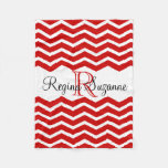 Red White Monogram Name Keepsake Chevron Fleece Blanket