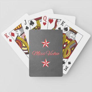 Red & White Monogram on Black Basic Playing Cards