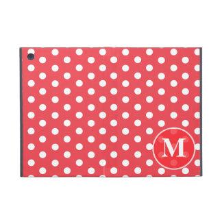Red White Monogram Polka Dots iPad Mini Case