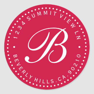 Red & White Monogram Round Return Address Label