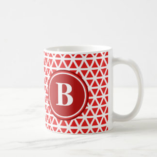 Red White Monogram Triangle Pattern Coffee Mug