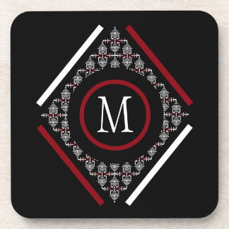 Red & White Monogram With Asian Inspired Patterns Drink Coaster