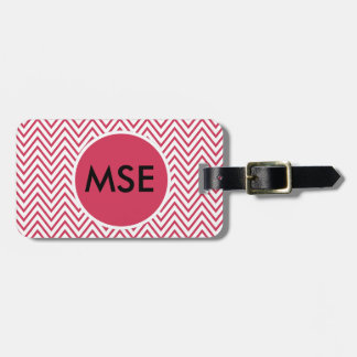 Red White Monogram Zigzag Tag For Luggage