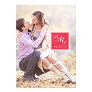 Red White Monogrammed Photo Wedding Invitation