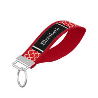 Red White Moroccan #5 Black Name Monogram Wrist Keychain