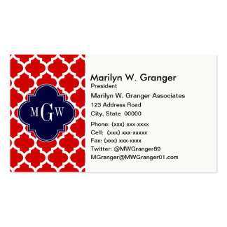 Red, White Moroccan #5 Navy 3 Initial Monogram Double-Sided Standard Business Cards (Pack Of 100)
