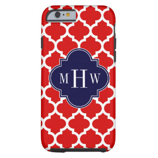 Red, White Moroccan #5 Navy 3 Initial Monogram iPhone 6 Case