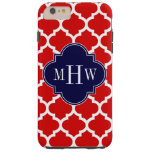 Red, White Moroccan #5 Navy 3 Initial Monogram Tough iPhone 6 Plus Case
