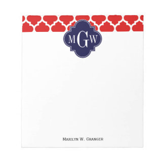 Red, White Moroccan #5 Navy 3 Initial Monogram Notepad