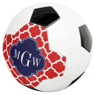 Red, White Moroccan #5 Navy 3 Initial Monogram Soccer Ball