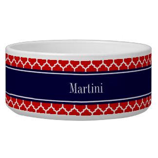Red White Moroccan #5 Navy Blue Name Monogram Bowl